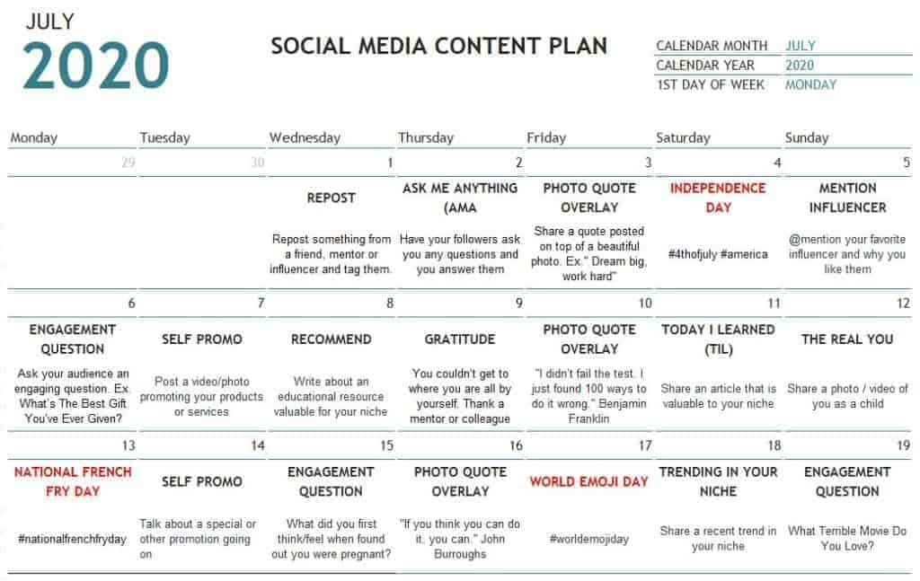 July-2020-Social-Media-Content-Plan